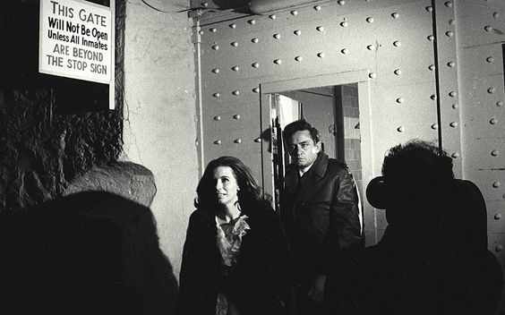 """Johnny Cash and June Carter Cash """"backstage"""" after their show at San Quentin State Prison, San Quentin, CA, USA, 24 February 1969."""