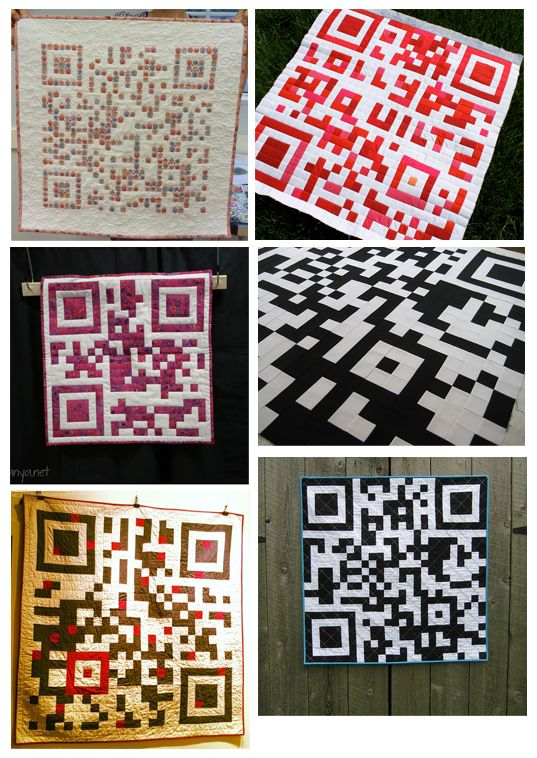 These QR Code quilts range from just a little wall hanging decoration to a king size bed quilt. I was so impressed that I gathered a bunch of the quilt photos and wanted to take a moment to share them. http://ilink.me/13594
