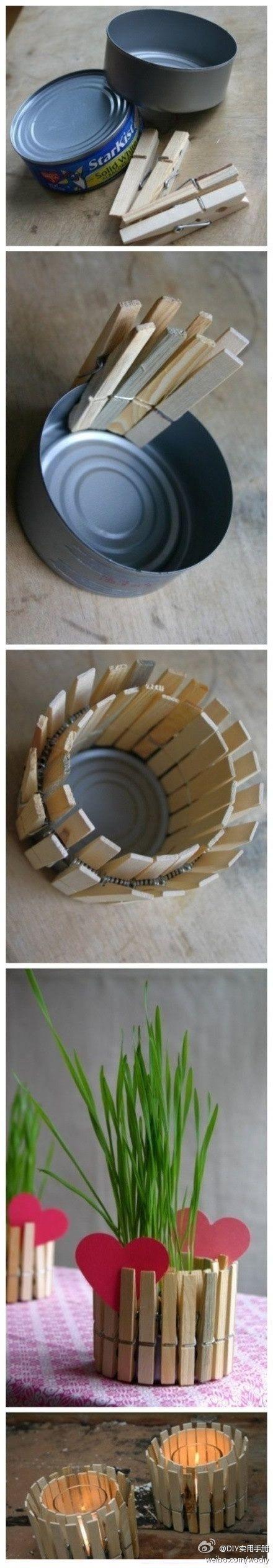Cubre macetas hecho con latas y pinzas. Maceteros y floreros reciclados #manualidades #DIY #reciclaje