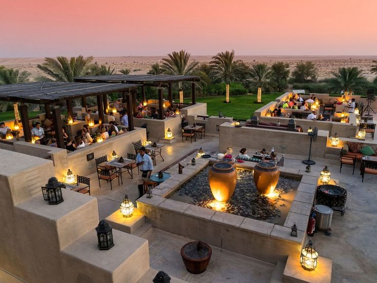 Dubai, United Arab Emirates Rising out of the dunes just 40 minutes outside Dubai, the Bab Al Shams Desert Resort and Spa is an oasis of luxury. The hotel is built to resemble an Arab fort and is home to several open-air restaurants that serve Arabian and Indian cuisine under the desert stars.