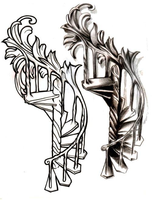 Spiral Staircase Tattoo Design This Was Custom Drawn For A Customer