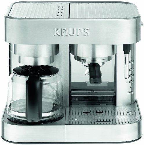 KRUPS XP6040 Die Cast Pump Espresso Machine and Coffee Maker Combination with Milk Frothing Nozzle 10Cup Silver >>> See this great product.Note:It is affiliate link to Amazon.