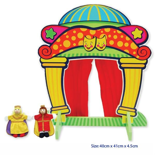 Wooden Finger Puppet Theatre - $16  Comes with King and Queen finger puppets Measures aprx 35cm L x 39.5cm H 3yrs +