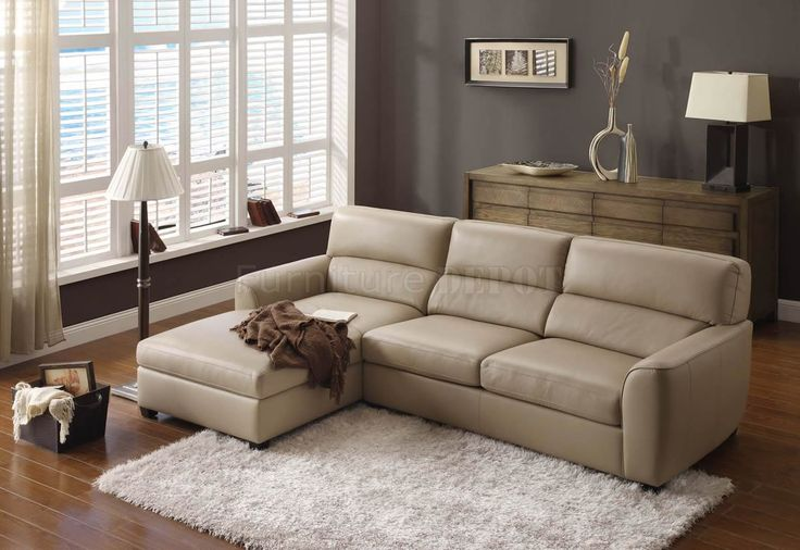 Wonderful Leather Sofa Designs In Beige Color : Impressive LShaped Beige  Leather Sectional Sofa With White Shag Rug And Brown Wall Painting Also Wou2026