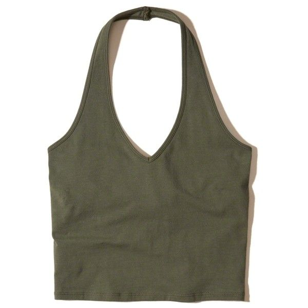 Hollister Must-Have Jersey Halter Top ($15) ❤ liked on Polyvore featuring tops, crop top, olive, tie halter top, olive green top, army green top, olive top and halter-neck crop tops