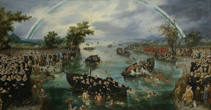 Only 11 more nights until you can see this baffling painting. It's called 'Fishing for Souls' and refers to the religious disputes in the Netherlands in 1607. On the left are the Protestants and on the right the Roman Catholics, and in the wide river between them the two parties are fishing for souls. The Protestants' catch exceeds that of the Catholics.