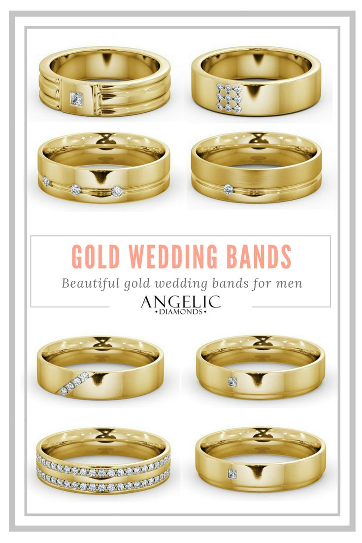 These gold wedding bands for men are the perfect blend of classically traditional and stylishly modern. Find your perfect wedding ring and customise it with #AngelicDiamonds. #Men #Wedding #WeddingRing #WeddingRings #Gold #YellowGold #Diamond #Diamonds #DiamondRing #GoldRing #DiamondJewellery #DiamondJewelry #GoldJewellery #GoldJewelry