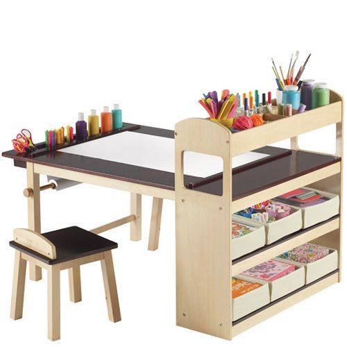 Since 1964, Guidecraft's been making child-sized furniture for use in schools and homes. They're an affordable mid-range online source to bookmark for simple wooden tables, chairs, and shelves, as well as blocks and play kitchens.