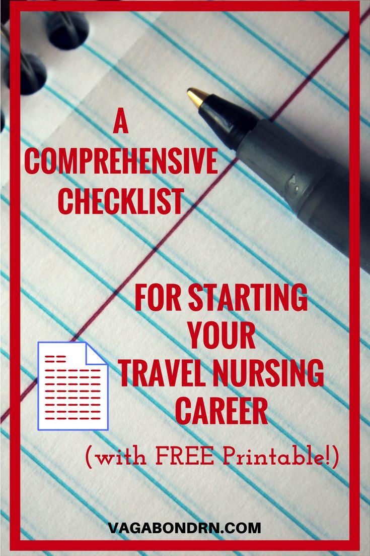 Travel Nursing | Starting a Travel Nursing Career | Travel Nurse Printables | Guide to Travel Nursing | Travel Nurse Checklist