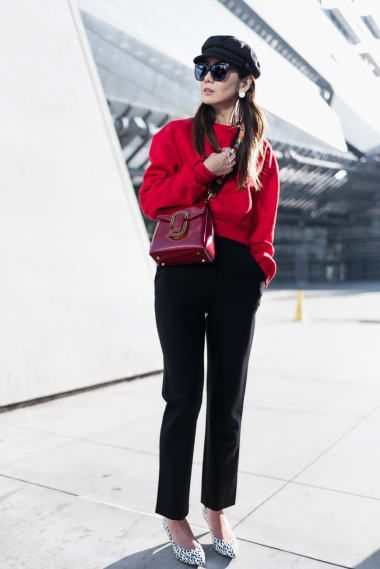 Casual Outfit from mountain-and-cloud with Brixton Hats, Gucci Sunglasses, Rodarte Sweatshirts, Valentino Shoulder Bags, Theory Pants