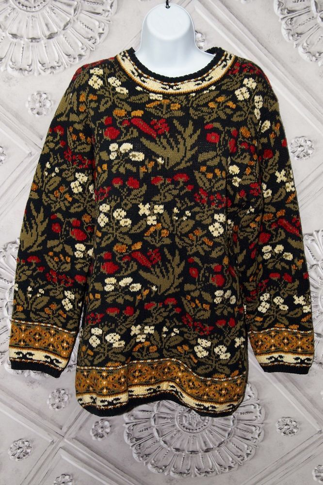 Lands End Crew Neck Sweater Floral Tapestry Thick Cozy Winter Size M 10-12 #LandsEnd #Crewneck