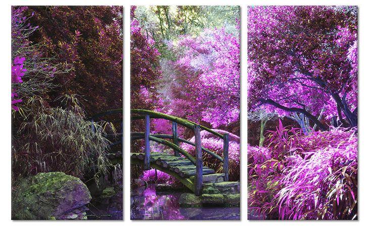 Canvas schilderij park met paarse bomen