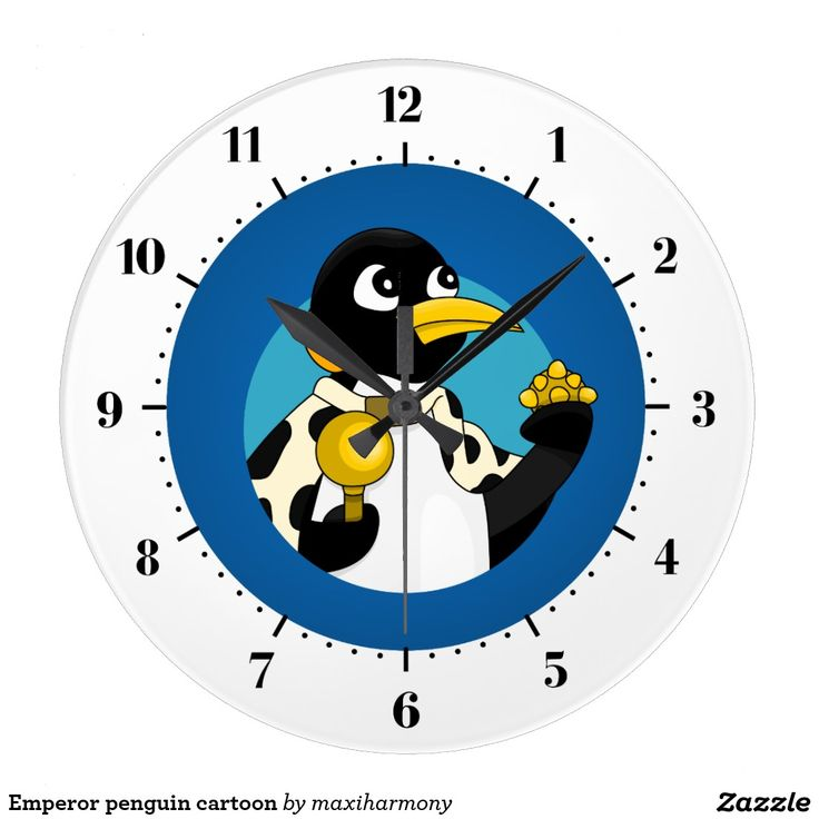 Emperor penguin cartoon wall clock