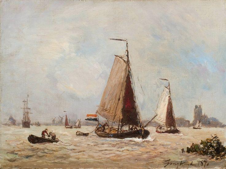 Jongkind - Zeilschepen bij Dordrecht | Dordrechts Museum | Huis Van Gijn