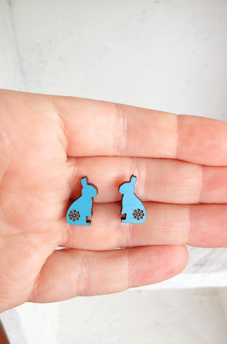 Summer Love Bunny Wooden Studs in Sky Blue - Laser Cut Wood Hand Painted Rabbit Earrings. $19.00, via Etsy.