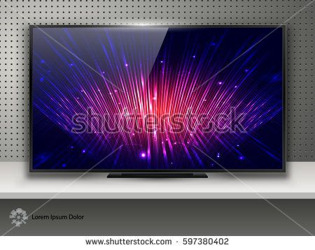 Realistic Modern TV with Technology Screen LCD on Metal Background. LED Wide Display. Can Use for Template Presentation. Electronic Gadget, Device Mockup. Stylish Television. Vector Illustration.
