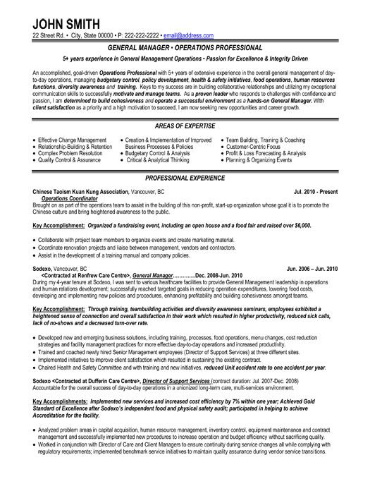 general manager resume examples