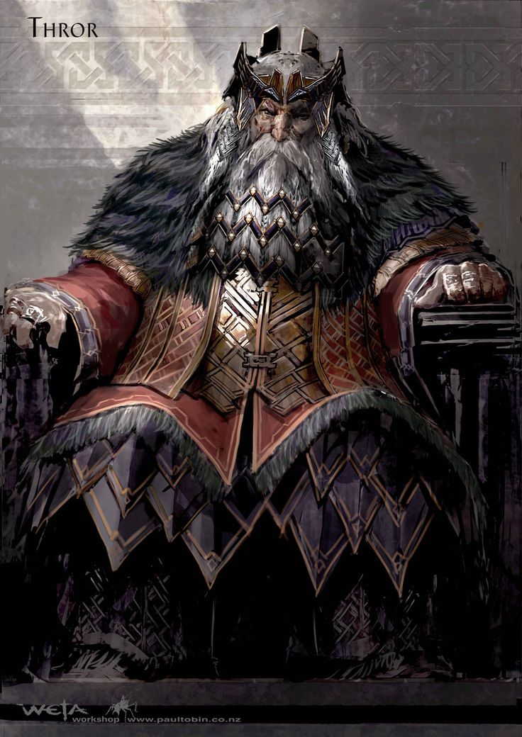 """Concept art for King Thror from """"The Hobbit: An Unexpected Journey"""" (2012).  The shaved fur of the mantle and the leather skirt reinforce the geometric aspects of the Dwarven aesthetic."""