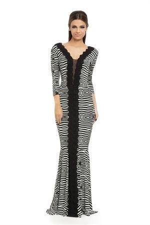 Vestido Longo Renda e Tule Estampa Zebra P&B - roupas-vestidos-iorane-f-vestido-longo-renda-e-tule-estampa-zebra-peb Iorane