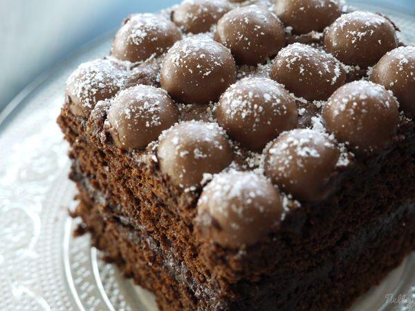 Gâteau au chocolat avec crème mousseuse au chocolat et billes de Maltesers...