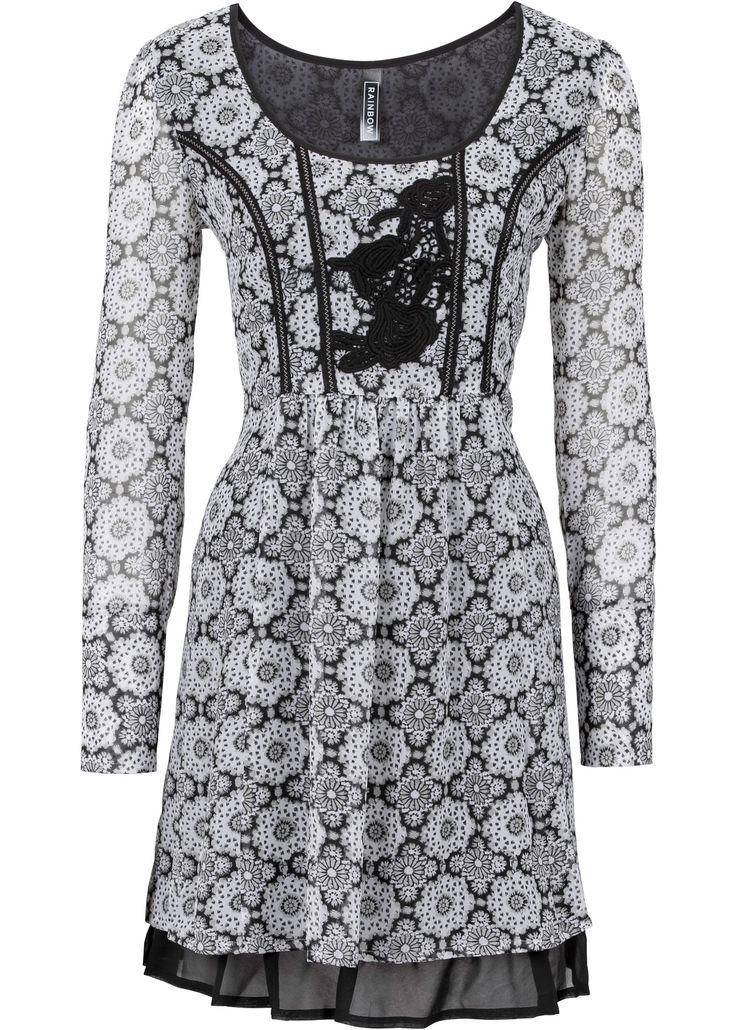 Jurk zwart/grijs - RAINBOW nu in de onlineshop van bonprix.nl vanaf ? 19.99 bestellen. Jurk met bloemenprint all-over en opvallende, zwarte onderrand van ...