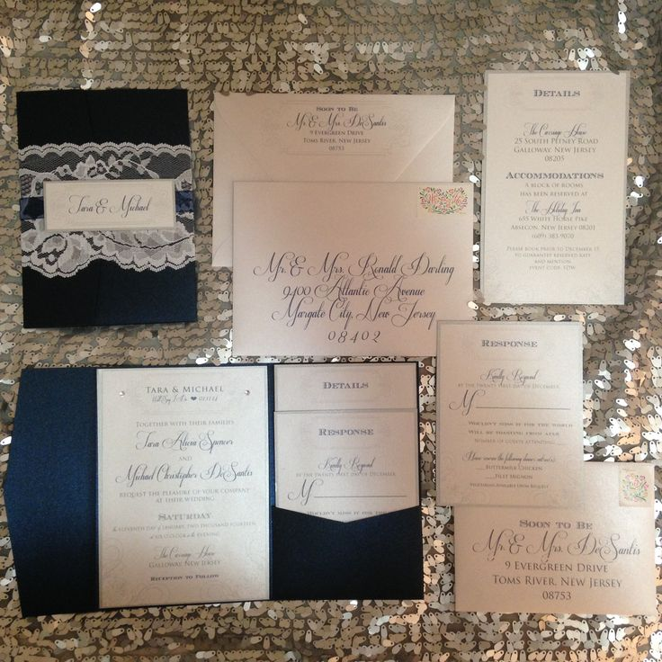 Navy and Silver winter wedding invitation with