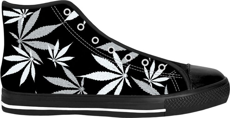 420 ganja leafs black and white sneakers, weed themed high tops, marihujana leafs pattern shoes - for more art and design be sure to visit www.casemiroarts.com, item printed by RageOn at www.rageon.com/a/users/casemiroarts - also available at www.casemiroarts.com -This product is hand made and made on-demand. Expect delivery to US in 11-20 business days (international 14-30 business days). #sneakers #clothing #style #shoes #hightops #fashion