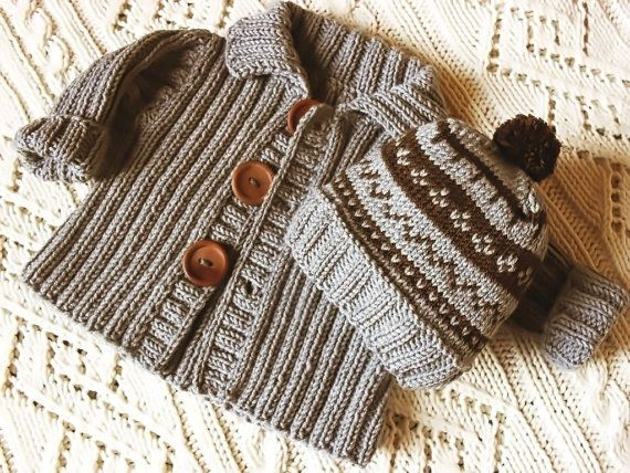 Baby jacket and hat set in merino extrafine pure new by Pilland, $75.00