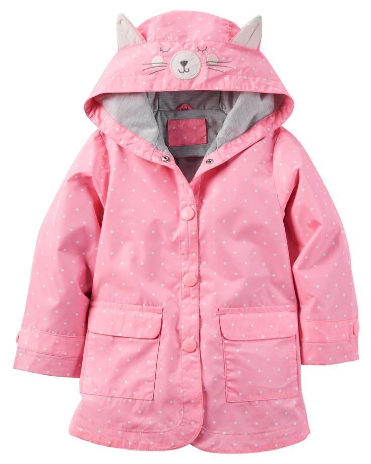 Avec son capuchon doublé de jersey et son visage de chat, cet imperméable la gardera bien au chaud et au sec!
