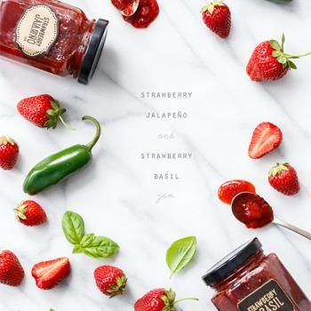 Strawberry Jalapeño and Strawberry Basil Jam-Pour Over Cream Cheese and Spread on Crackers!