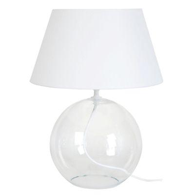 Lampe à poser en verre transparent et abat-jour coton blanc H39cm