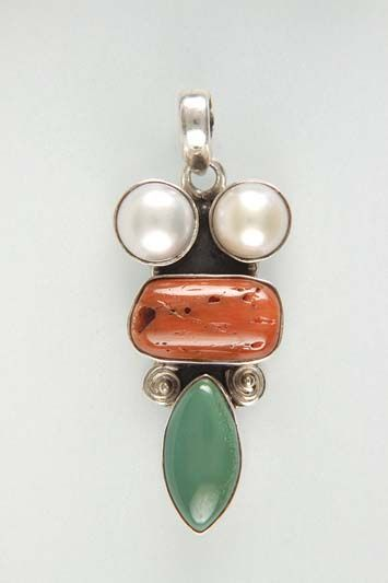 Silver 925° stone Pearl – coral – Turquoise – Size 5,1 x 2,1 cm