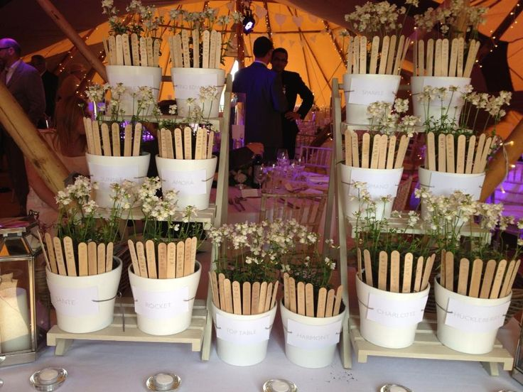 Plant pots used for your tipi seating plan.