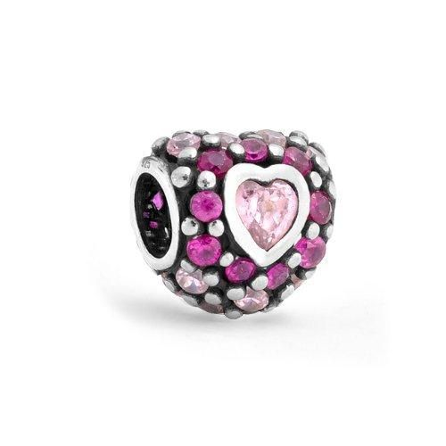 Bling Jewelry 925 Sterling Silver Red CZ Heart Bead Pandora Compatible