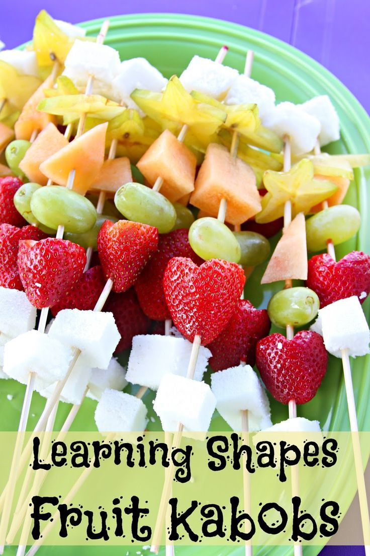 Play Date Learning Shapes Fruit Kabobs - fresh fruit is cut into shapes for your kids to learn while they eat!