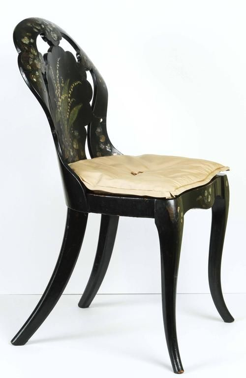 A Papier-Mache Chair in Black Lacquer with Mother of Pearl Inlay, circa 1850 3