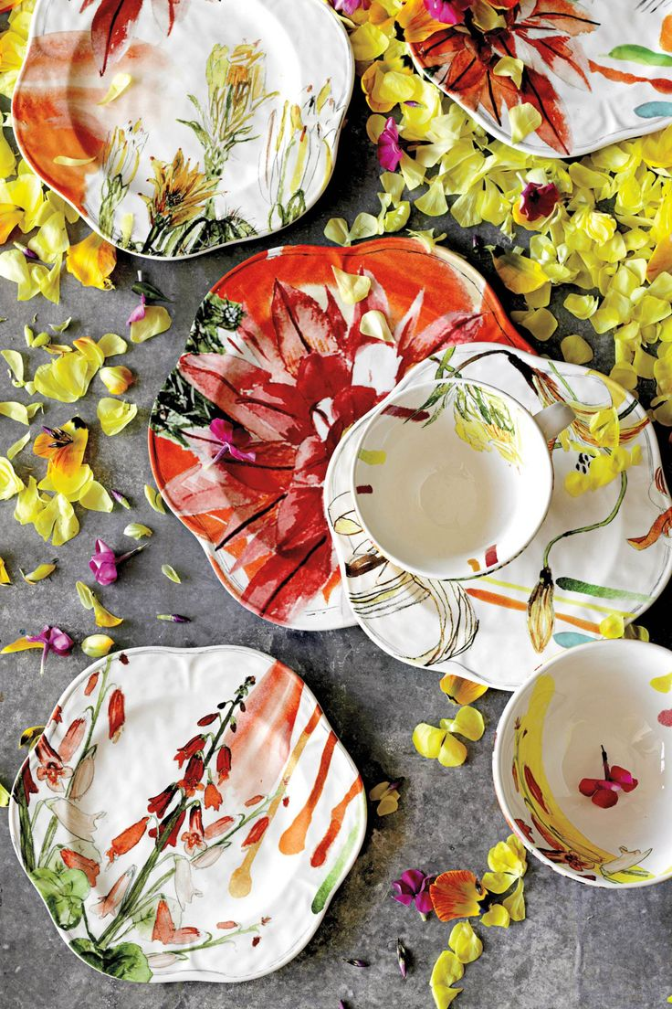 I like how each plate is a little bit different: Meadowsweet Salad Plates | Anthropologie