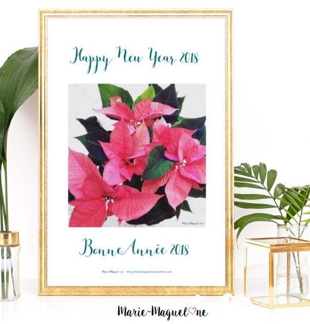 Poinsettia rose Bonne Année 2018 - Marie-Maguelone