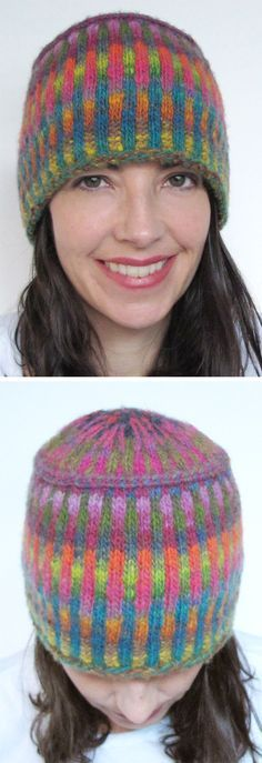 Free Knitting Pattern for Corrugated Pillbox Hat - A pillbox had with multi-colored vertical stripes in corrugated ribbing and a latvian braid at the crown. The designer made this hat with scraps of Noro Kureyon, but you can use also use just two different colorways. Designed by Ellen Rodgers