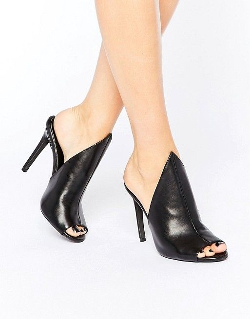 Public Desire | Public Desire Corina Black Heeled Mules