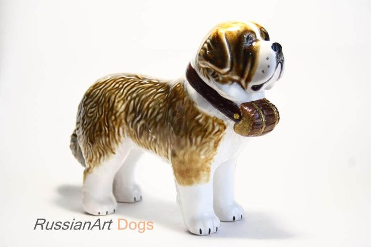 St. Bernard dog ceramic figurine handmade statue by RussianArtDogs on Etsy