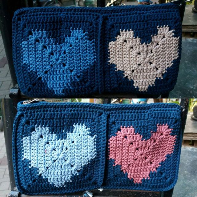 Pouch Kotak Motif Love Rp. 100.000 27cm x 14cm Benang katun Big Ply Bisa request warna dan ukuran #jualtas #rajutan #jualtassurabaya #handmade #crochet #jualtasrajutsurabaya