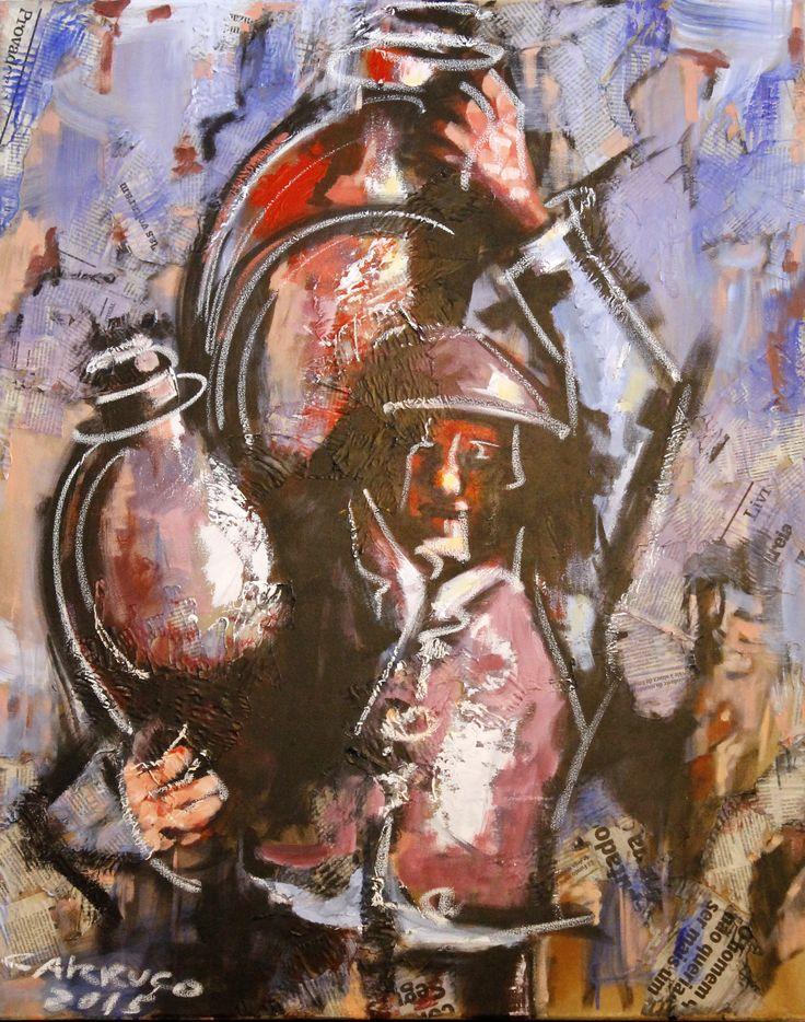 """Aguadeiro"" / ""Waterboy"" Técnica mista sobre tela / Mixed media on canvas 100 x 80 cm 2015"