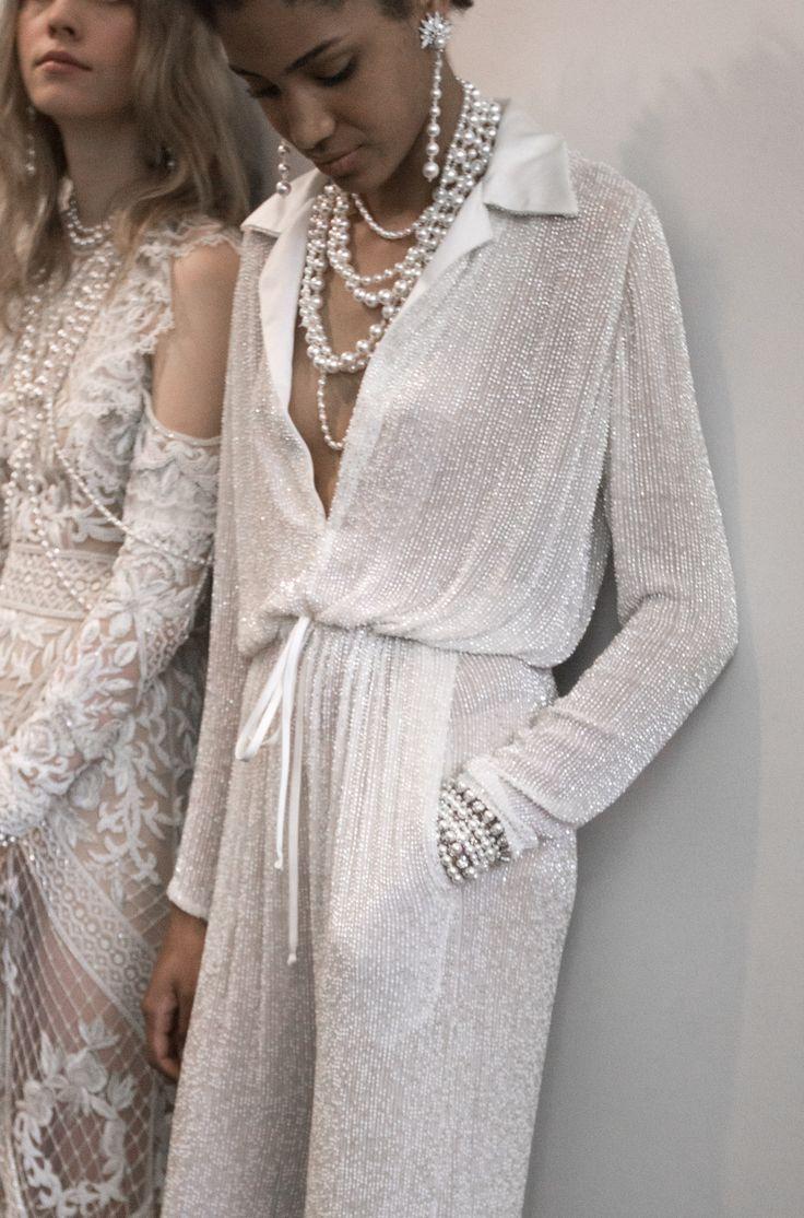 Naeem Khan Bridal / New York Bridal Fashion Week 2017 / Iridescent Bridal Jumpsuit with Pearls / Wedding Style Inspiration / The LANE