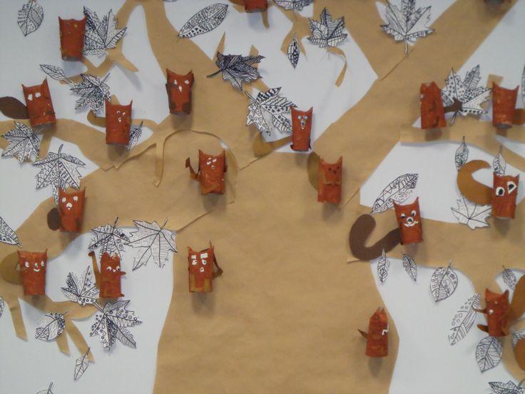 écureuils réalisés en rouleau de papier wc, peinture et collage. CP novembre