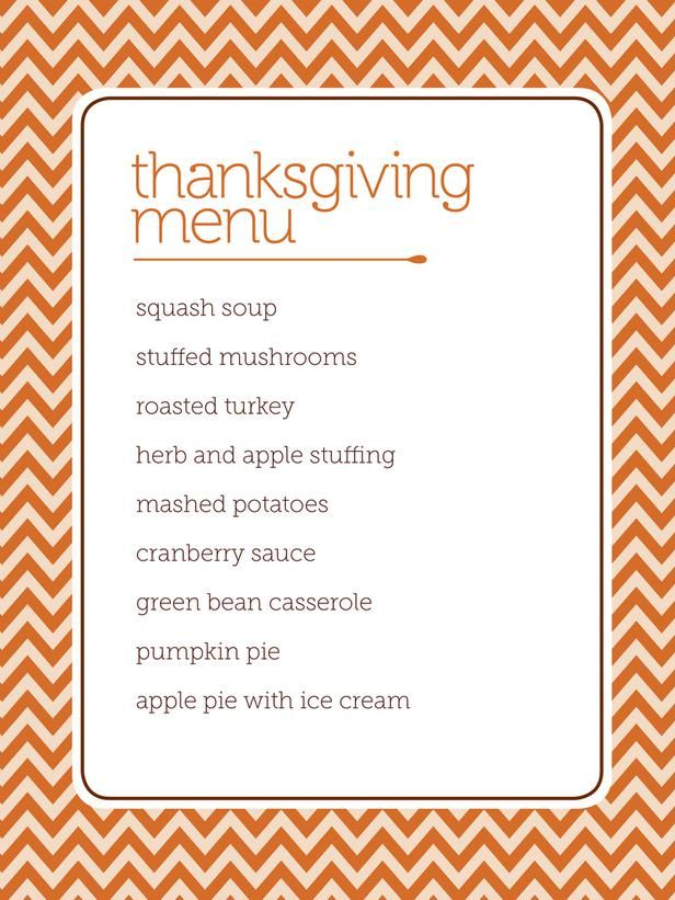 4 downloadable, customizable, printable menus for your Thanksgiving meal from HGTV.
