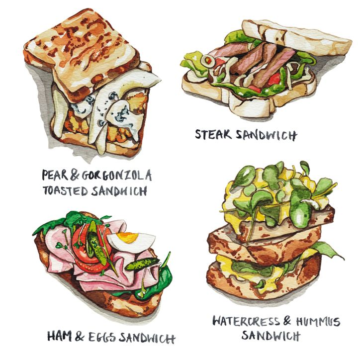 Sandwich Illustration For Tesco Food By Katrina Sophia