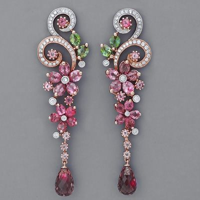 Art Nouveau Earrings With Pink And Green Tourmaline Unique Jewelry Pinterest