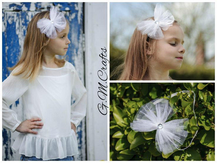 Headband,Tulle Bow Crown, Bow Headband in White, Flower Girl Hair Accessories. by CraftsGMCrafts on Etsy