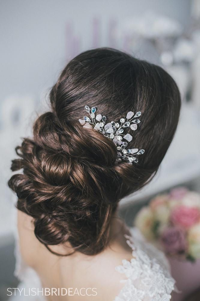 Wedding Hair Comb Crystal Rose Quartz, Hair Wedding Comb, Rose Quartz Wedding Hair Comb, Crystal Bridal Comb, Bridal Hairpiece by StylishBrideAccs on Etsy